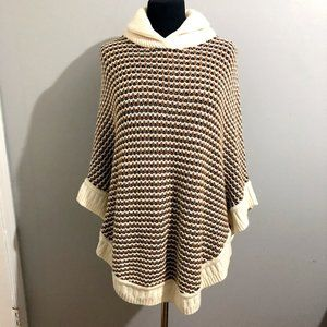 Talbots Cable Knit Cozy Shaw Collared Poncho Small